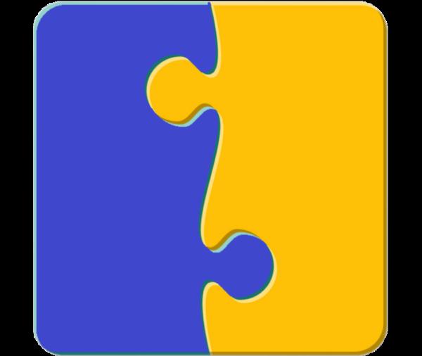 Blue 2 piece puzzle
